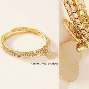 HTF NWT ANTHROPOLOGIE Heart 14KGP Sparkle Bracelet